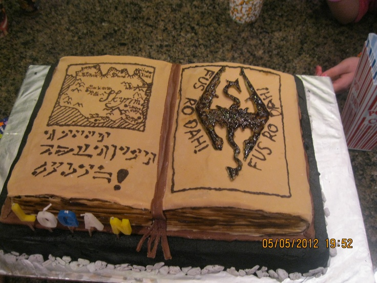 Skyrim cake I made my son for his birthday. It says Happy Birthday Logan in Dragon alphabet.