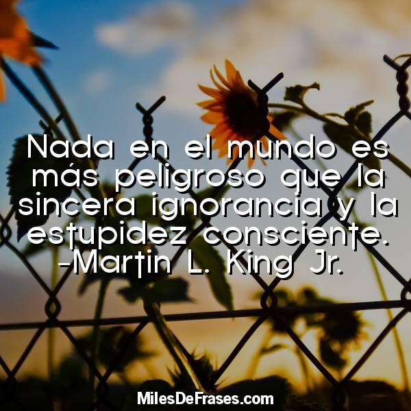Nada en el mundo es más peligroso que la sincera ignorancia y la estupidez consciente. -Martin L. King Jr.