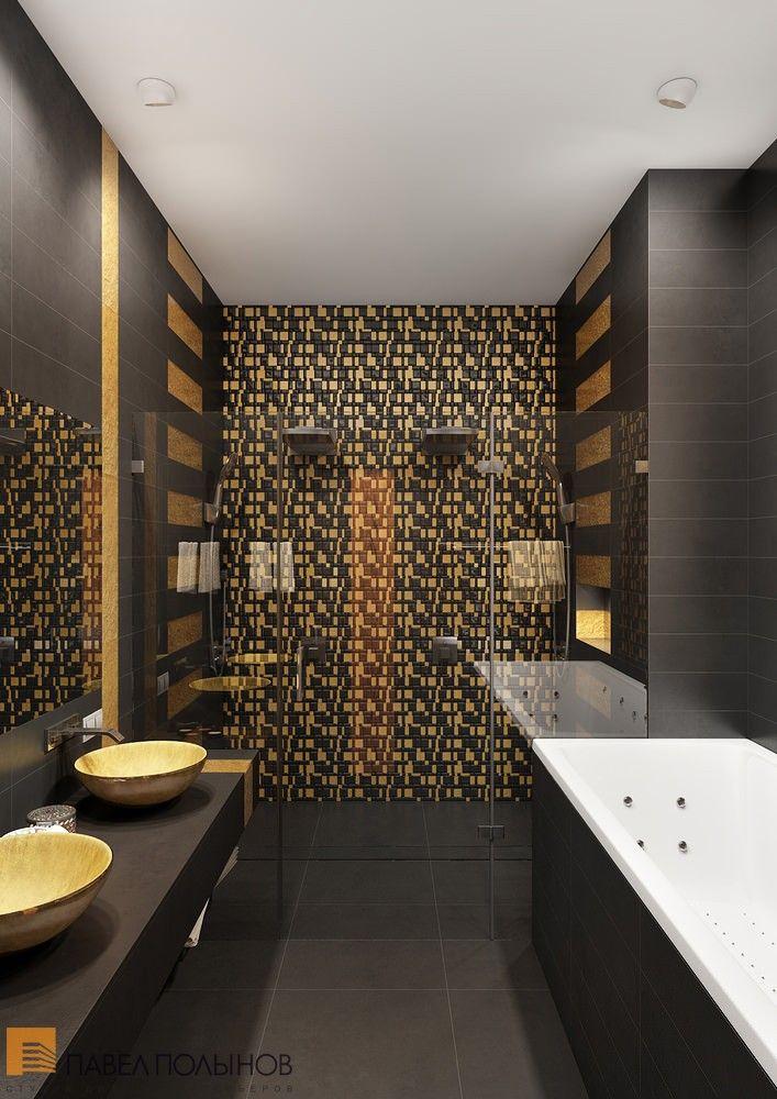 Интерьер ванной комнаты в черных и золотых цветах / bathroom / bathroom decor / bathroom ideas / by Pevel Polinov Studio #design #interior #homedecor #interiordesign