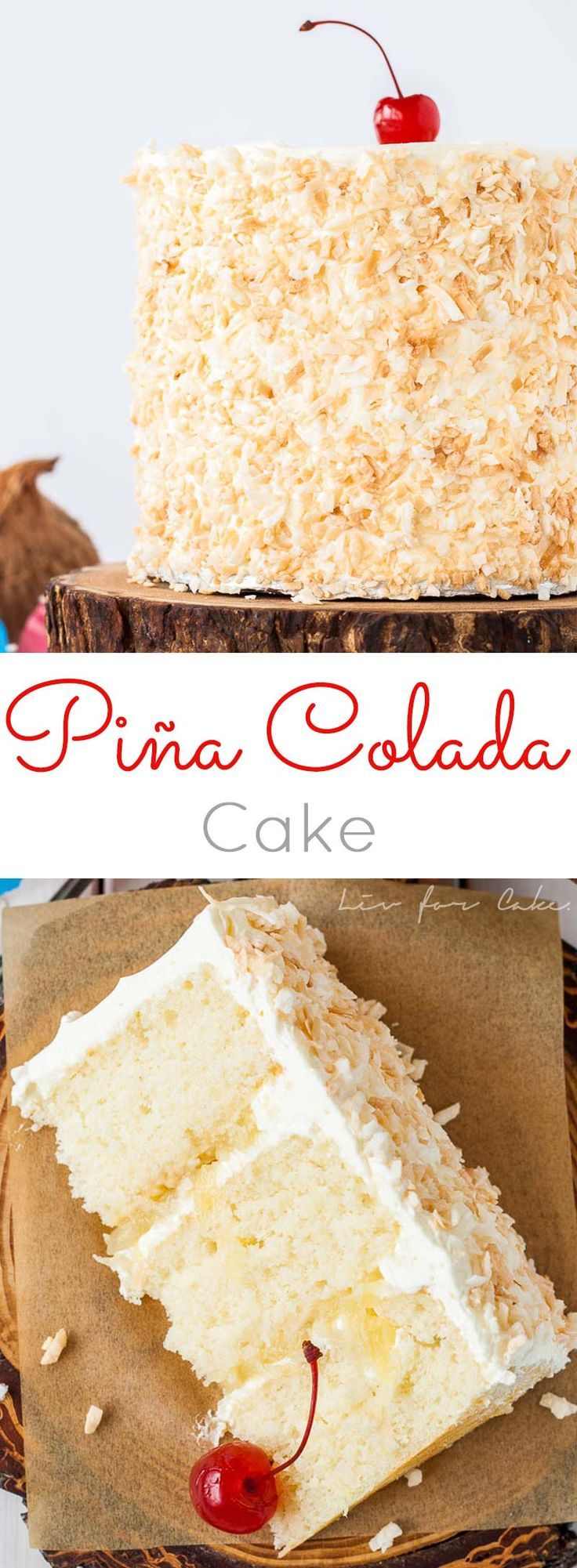 This Piña Colada Cake turns your favourite tropical cocktail into one delicious dessert! Rum flavoured cake and frosting paired with pineapple filling and toasted coconut.   http://livforcake.com