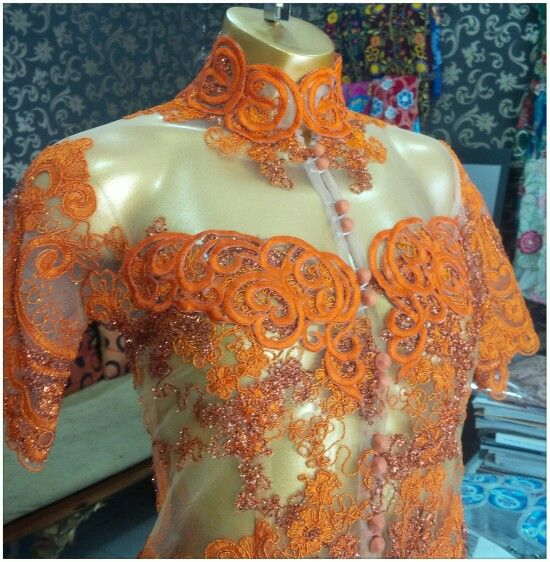 Orange lace kebaya by calista