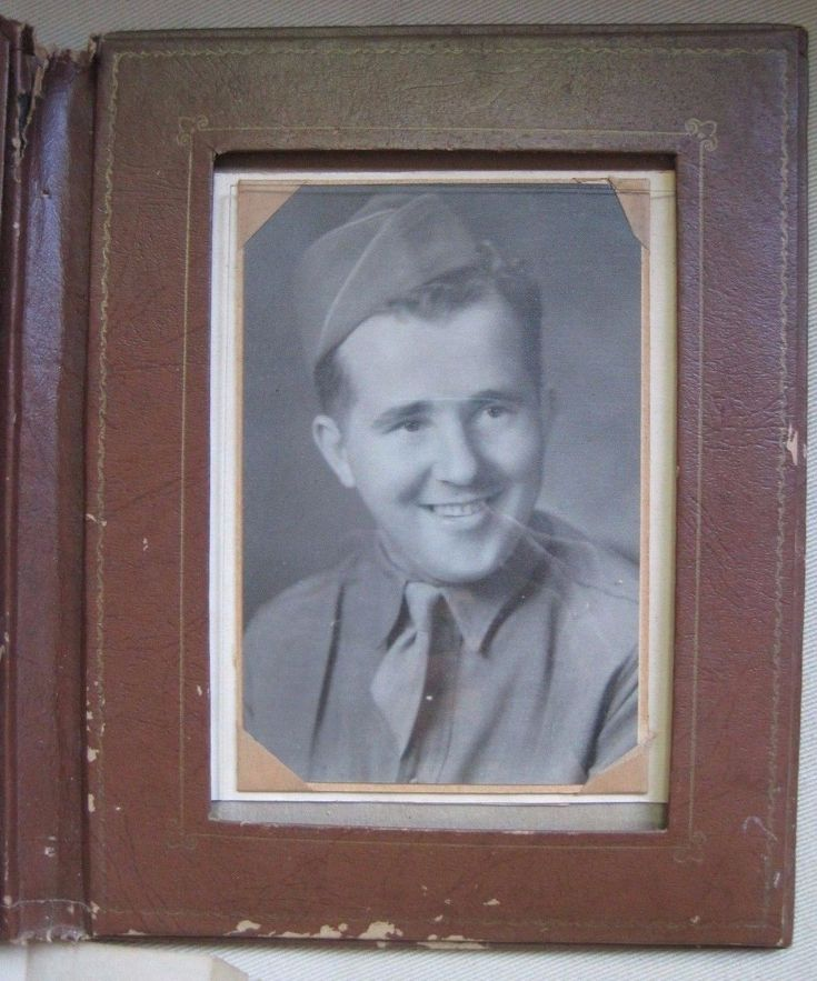 WORLD War II Military US Army Soldier Portrait Photograph US Leather Binder 2 - $26.25 | PicClick