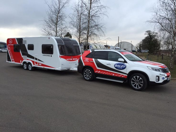 Team Bailey Racing's new support vehicle - the Bailey Unicorn Cordoba with a Kia towcar. - Looks amazing with the matching vehicle wrap!