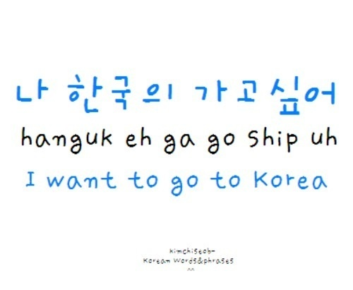 pretty simple! Hnaguk-KOREA ship-uh-WANT i always love the korean word-DeHAMINGO