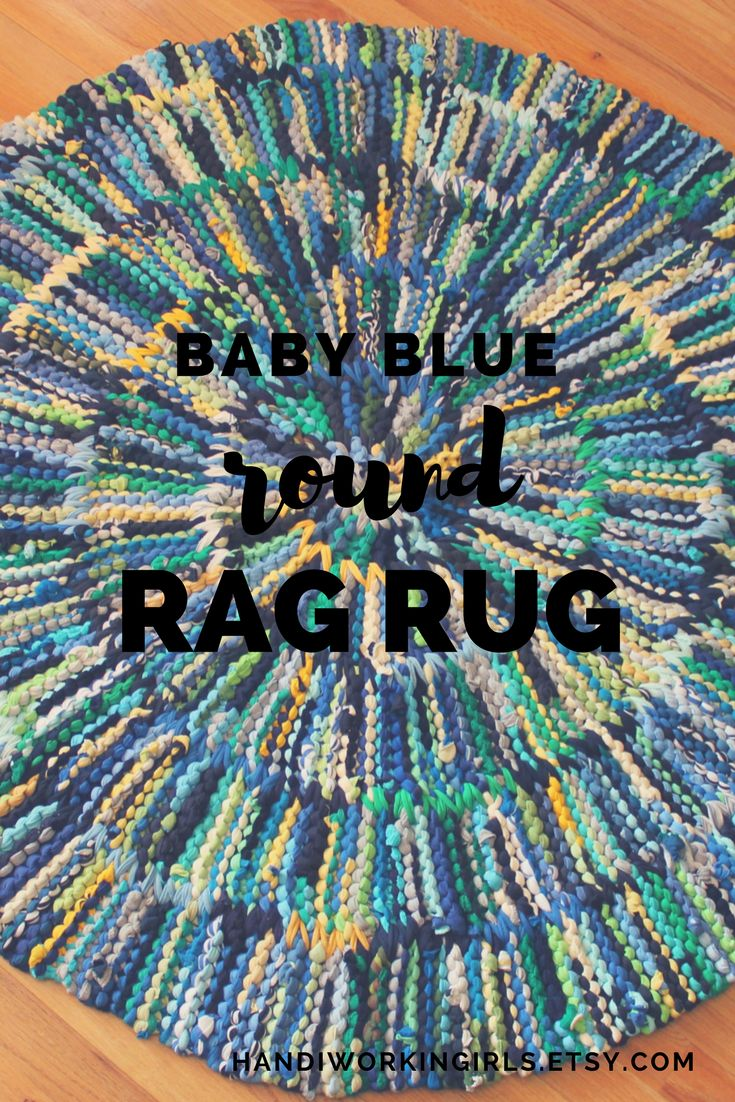 Bright blue, green, white, and yellow add a fresh look to our rag rug's base of baby blue, navy, and gray: https://www.etsy.com/handiworkingirls/listing/93617212/t-shirt-rag-rug-baby-blue-circular-navy