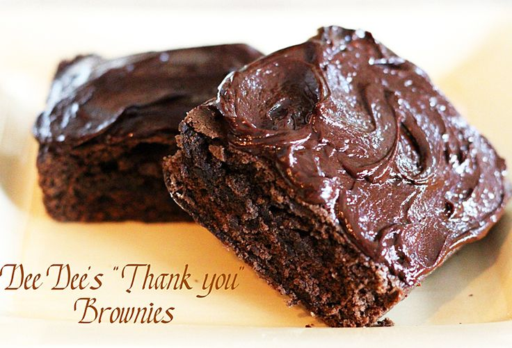 Frosted Thank You Brownies - These cake-like brownies are topped with a gloriously rich chocolate frosting.