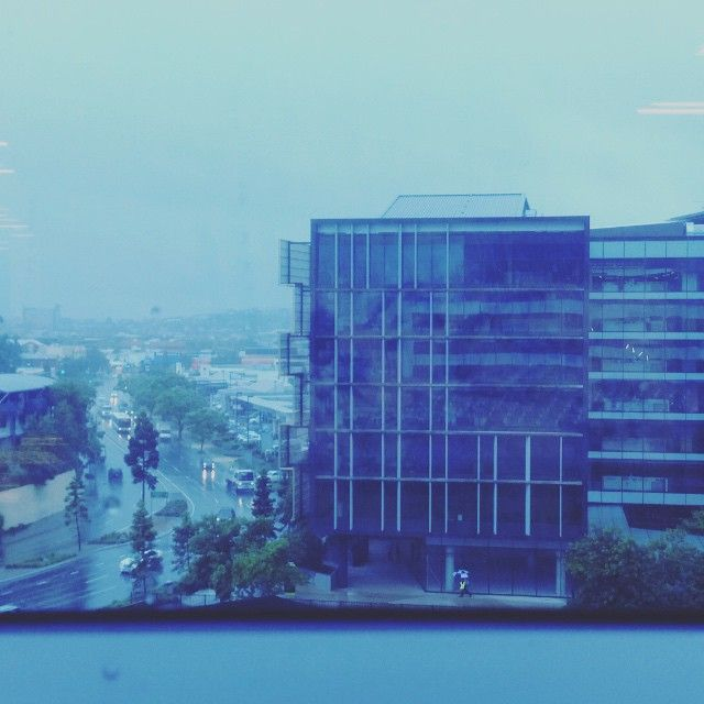 It's certainly wild and woolly out there today! Here's our view from the #Newstead office. Stay safe and dry, guys. #rain #bnerain #bneweather