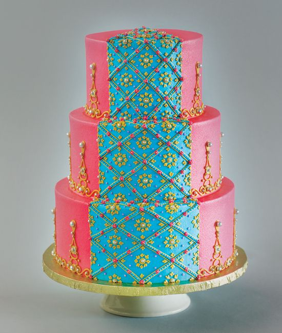 Prettiest Cakes// Cakeworks Inspired by Indian Sari. Base coated and piped in buttercream.