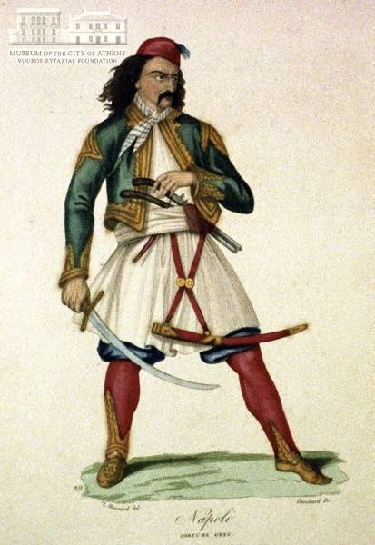 L. MASSARD (painter) & CHOUBARD (engraver) Greek warrior coloured copper engraving, 10 x 20 cm