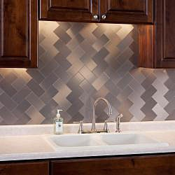 Aspect 3x6 inch brushed stainless long grain metal peel for Do it yourself backsplash peel stick tile kit