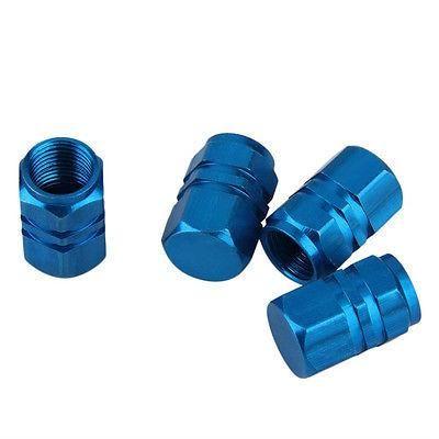 Blue Aluminum Tire Wheel Rims Stem Air Valve Caps Tyre Cover Fit All Auto Car