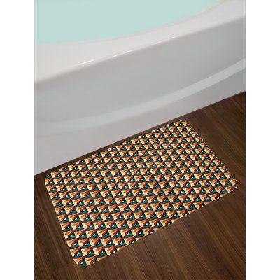 East Urban Home Ambesonne Abstract Bath Mat by, Retro Polygonal Composition with Vivid Mesh Futuristic Design Technology Theme, Plush Bathroom Decor M
