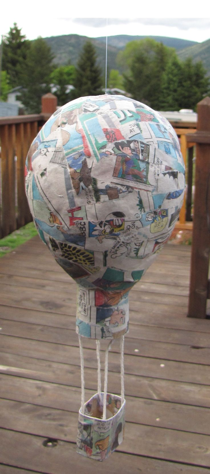 Paper Mache Hot Air Balloon using Sunday Funnies