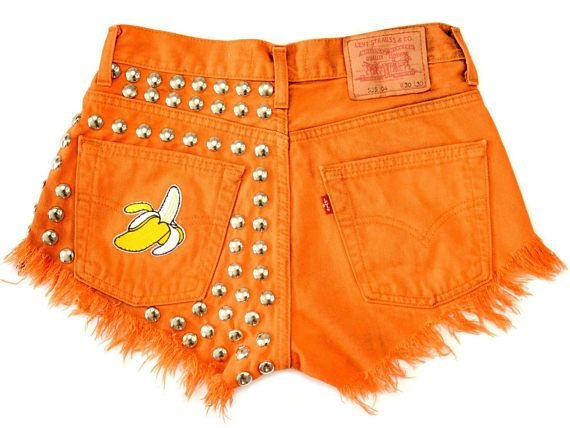 ORANGE Banana shorts High waisted denim hand dyed vintage