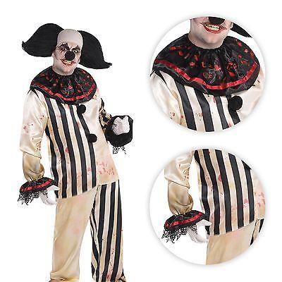 Adult Mens Halloween Clown Suit Freakshow Circus Mad Killer Fancy Dress Costume