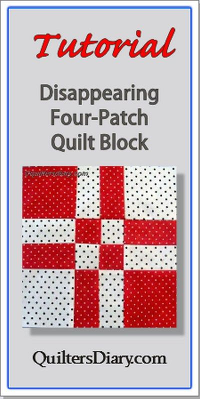 The Four-Patch block is one of the easiest of all quilt blocks for beginning quilters to sew. With a little extra cutting, mixing, and sewing, you can make this clever Disappearing Four-Patch block. Tutorial at QuiltersDiary.com.