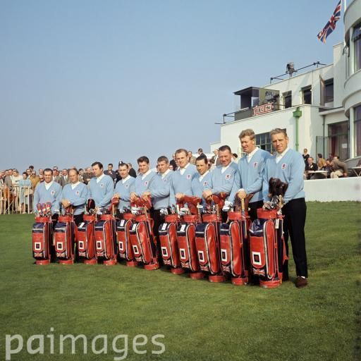 The Great Britain team line up with their bags: (l-r) Peter Butler, Neil Coles, Peter Alliss, Christy O'Connor, George Will, Lionel Platts, Dave Thomas, Jimmy Hitchcock, Jimmy Martin, Bernard Hunt, captain Harry Weetman