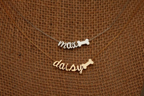 TINY Dog Bone Necklace with Name Pet Lover by LittleMissLilyan