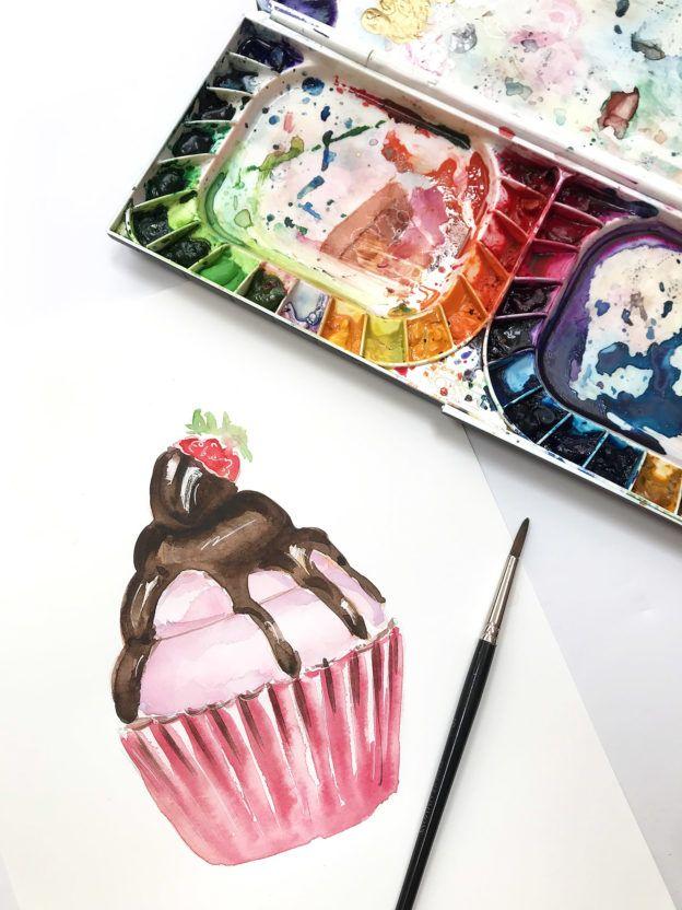 Watercolor Practice Painting Sweet Treats Cupcake Illustration