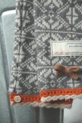 fair isle sweater sleeve with orange trim via batixa. source odd molly?