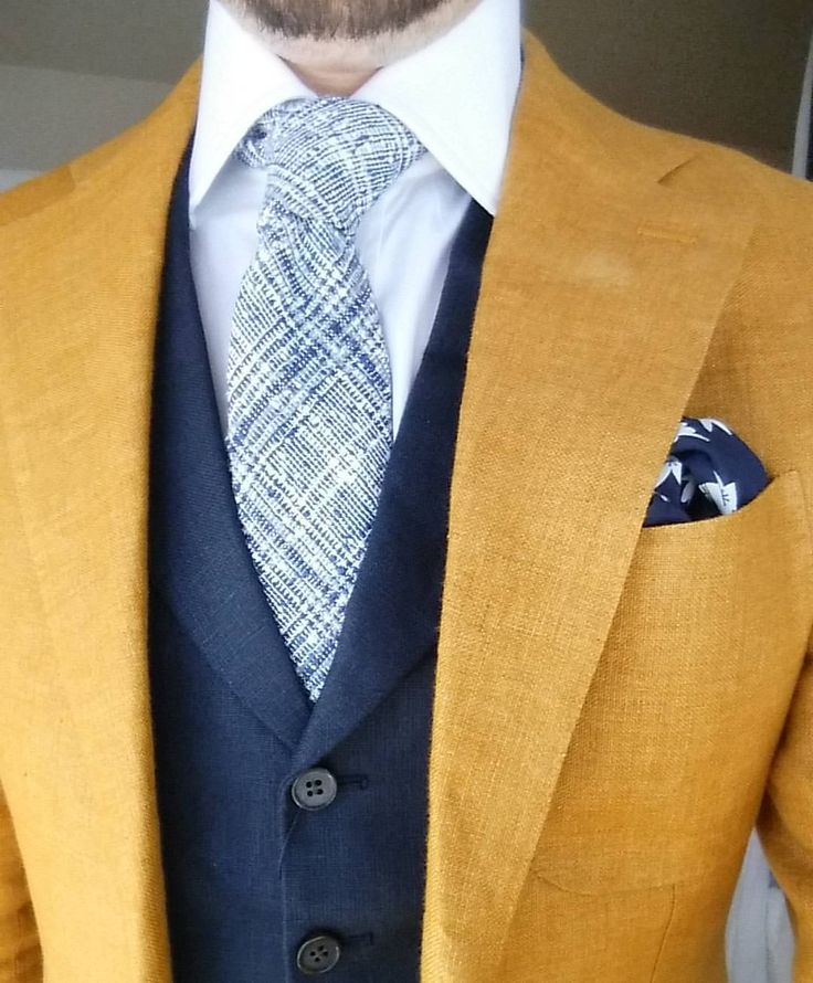 """gentlemenscholarsclub: """" Trying on a @suitsupply navy linen vest and blue POW cotton tie with a yellow linen Hudson jacket. """" Almost time for the linen."""