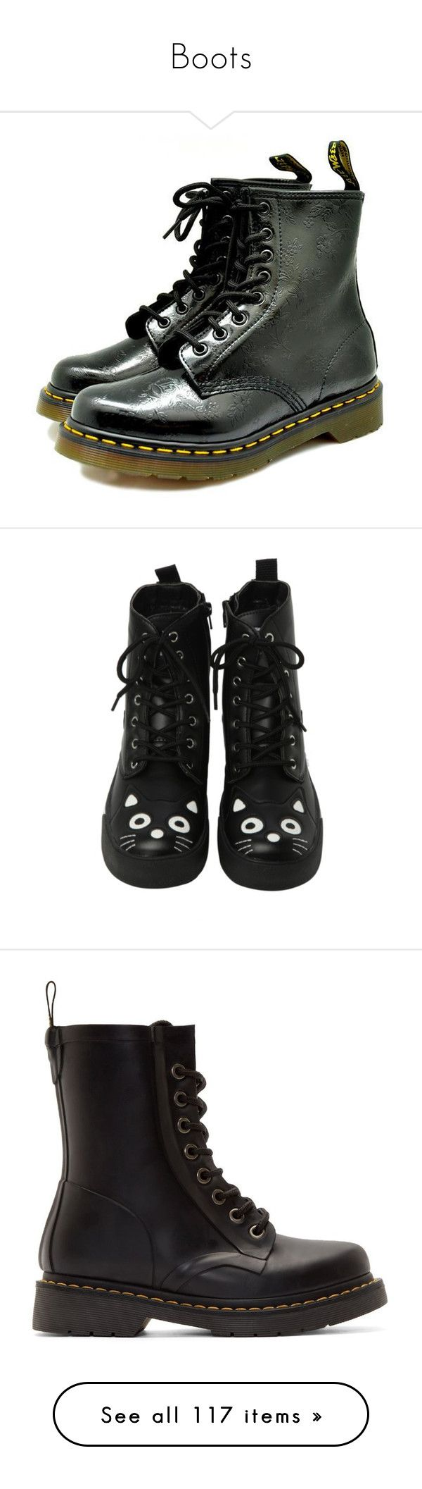 """""""Boots"""" by marleen03 ❤ liked on Polyvore featuring shoes, boots, ankle booties, botas, punk boots, punk rock boots, t u k shoes, black boots, black shoes and t u k boots"""