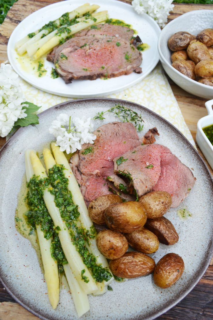 Roast Prime Rib of Beef with Herb Vinaigrette,Asparagus and Fried New Potatoes