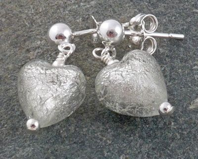 Murano glass heart earrings - Shown here in Crystal but we can make them in lots of colours
