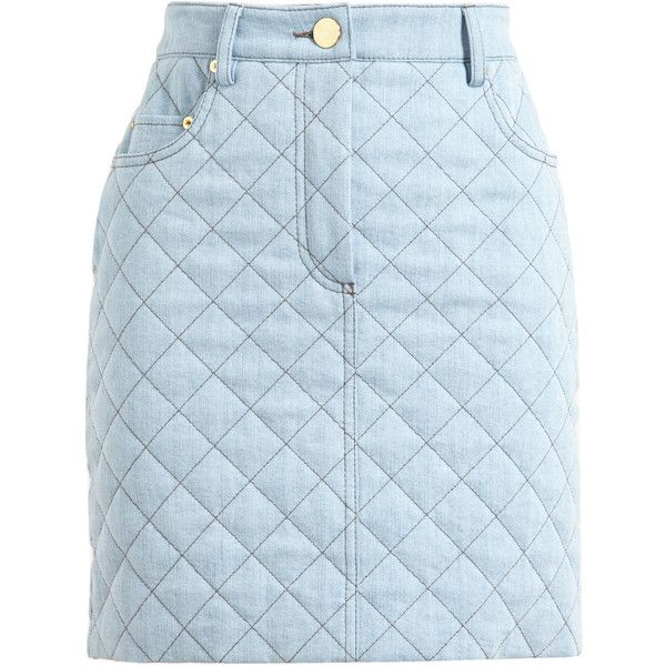 MOSCHINO Quilted Denim Mini Skirt found on Polyvore