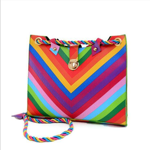 YJGJZ CASA estilo Verão rainbow saco Colorido saco de Ombro PU LEATHER Tote Satchel Bolsa Da bolsa das mulheres das mulheres Saco