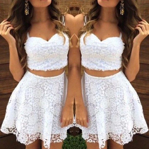 Homecoming prom dress,short prom dress,lace prom dress,Two Pieces Prom Dress Elegant Women dress,Party dress L309