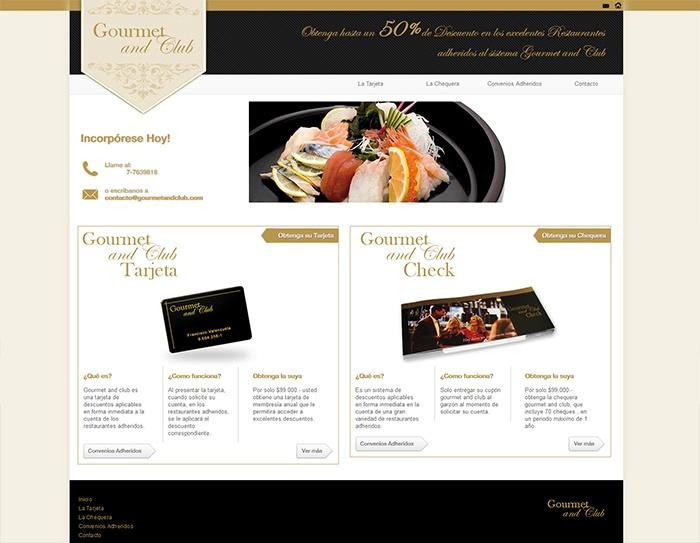 Diseño y desarrollo del sitio Gourmet and CLub.