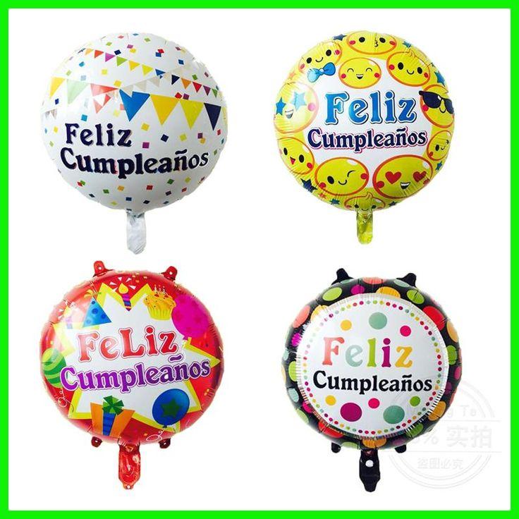 Mtrong Te 50 pcs Spanish happy birthday 18 inch round shape foil helium balloon Feliz cumpleanos theme balloons