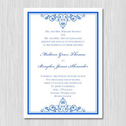 royal blue wedding invitation template editable microsoft word instant download all colors. Black Bedroom Furniture Sets. Home Design Ideas