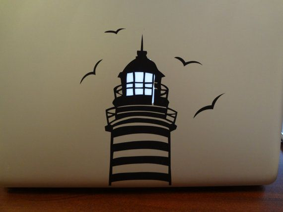 Lighthouse Decal MacBook Pro 13 inch PC Laptop Decal Birds Sticker Seaside Ocean Lamp Light up Glow