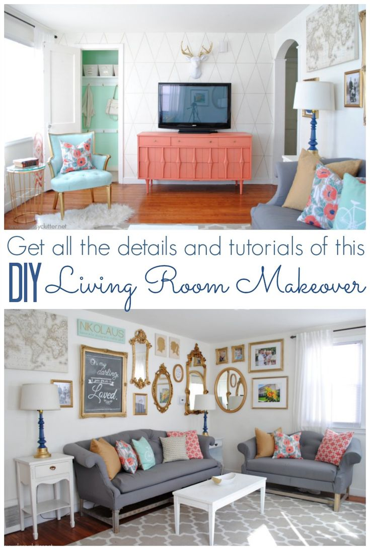Coral And Mint Living Room Reveal | Diy Living Room, Living Rooms And  Elegant