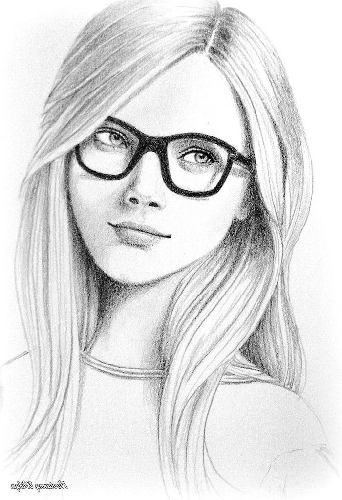 Girl With Glasses Long Wavy Hair Easy Things To Draw When Your Bored Black White Pencil Sketch Girl Face Drawing Pencil Drawings Pencil Sketches Easy