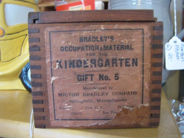 Milton bradley wood chip box from the s was used to