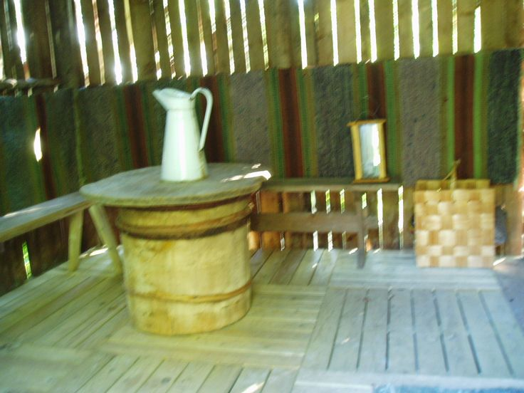 the changing room in the sauna building  as it was at the beginning
