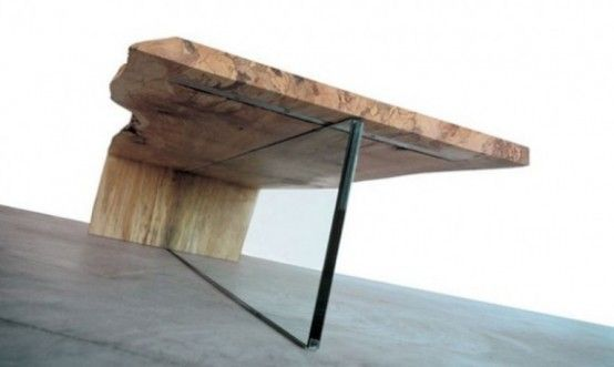 natural wood coffee table | Contemporary Coffee Table Of Rustic Wood | DigsDigs