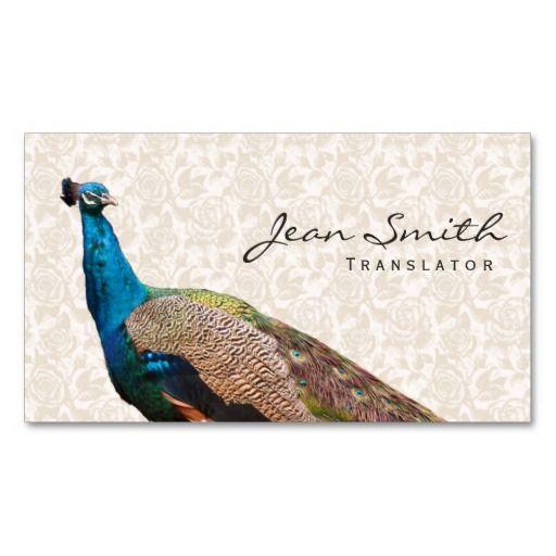 Vintage Peacock Floral Translator Business Card