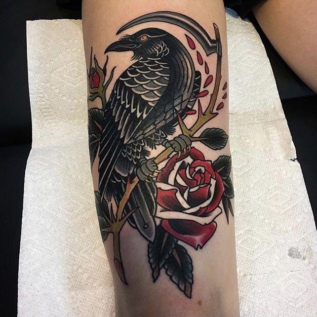 tattoo by Ryan Thomas #tattoo #traditional tattoo #crow tattoo