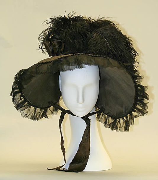Bonnet, 1824, American or European, straw, feathers    (Click through to the Met for side and back views.)