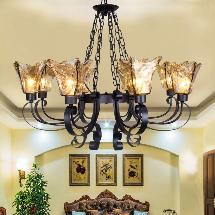 European Chandelier Villa Living Room Lamp American Country Bedroom Retro Iron Restaurant Mediterranean