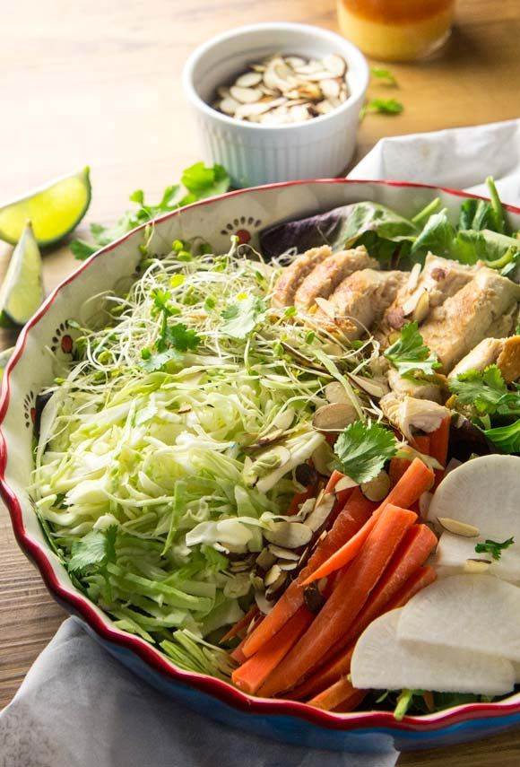 asian almond crunch chicken salad lime dressing asian chicken blogging ...