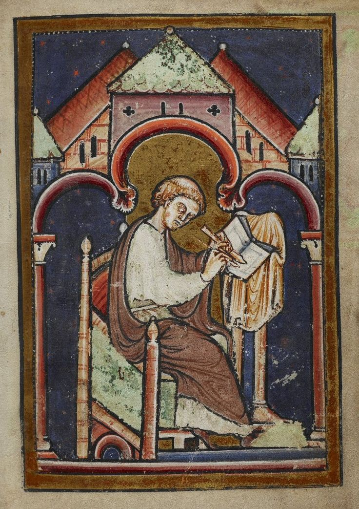 Miniature of a seated scribe (possibly Bede), from Bede's