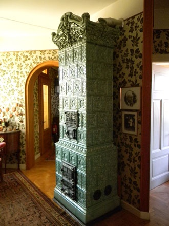 Antique French Ceramic Wood Burning Stove  #Kakelugnen #tile #stove #fireplace #French #tile_stove