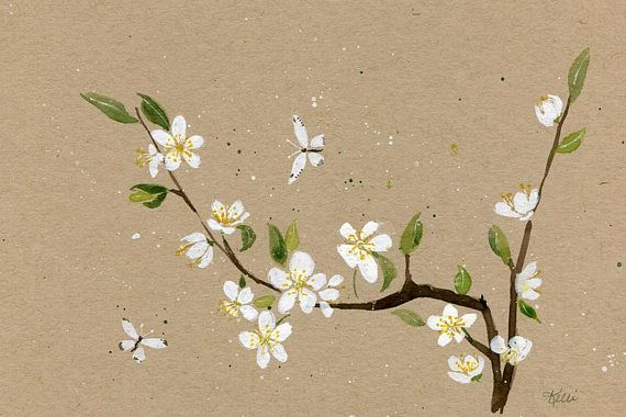 White Cherry Blossoms Original Watercolor Painting
