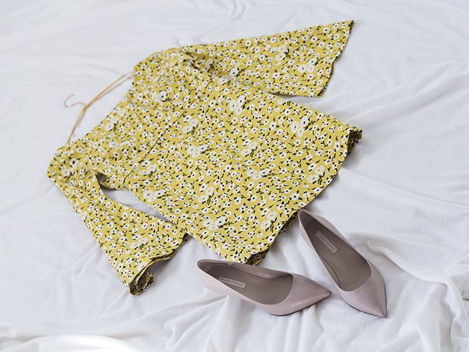 My style. Zara bell sleeve yellow flower dress, Pura Lopez nude pumps via Coffee Table Diary
