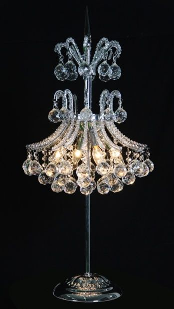 Table lamp with clear crystals